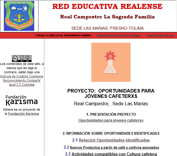 A screenshot of a webpage titled 'Red Educativa Realense - Real Campestre La Sagrada Familia', with text in Spanish.
